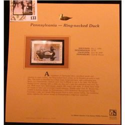 1999 Pennsylvania-Ring-necked Duck Waterfowl $5.50 Stamp. Mint Condition with literature, unsigned.