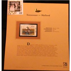 1999 Tennessee-Mallard Waterfowl $10.00 Stamp. Mint Condition with literature, unsigned.