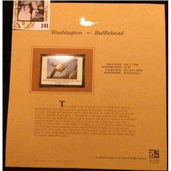1999 Washington-Bufflehead Waterfowl $6.00 Stamp. Mint Condition with literature, unsigned.