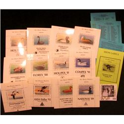 "Sam Houston Philatelics Souvenir Show Labels: ""HOUPEX '90"" depicting a Gadwall; ""National '89"" depic"
