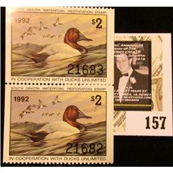 1992 Consecutively numbered perforated Pair of South Dakota Waterfowl Restoration Stamps, Mint, and