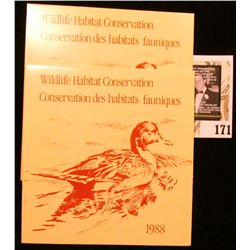 (2) 1988 Canadian Wildlife Habitat Conservation $6.50 Stamps in original mint holder.