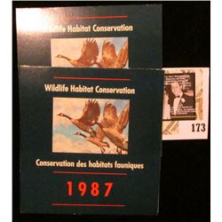 (2) 1987 Canadian Wildlife Habitat Conservation $6.50 Stamps in original mint holder.