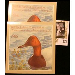 (2) 1986 Canadian Wildlife Habitat Conservation $4.00 Stamps in original mint holder.