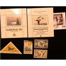 "Sam Houston Philatelics Souvenir Show Labels: ""National '89"" depicts an Old Squaw;  ""Postage Stamp M"