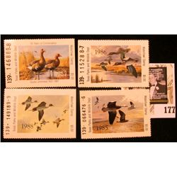 1985, 86, 87, & 88 Texas Parks and Wildlife Dept. $5 Waterfowl Stamps, all Mint and unused.
