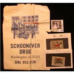 """Schoonover Drug Washington, Ia. 52353 Dial 653-2126"" advertising paper sack (slight damage); RW48 F"