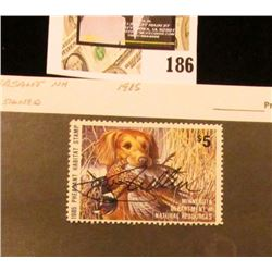 1985 Minnesota Department of Natural Resources $5 Pheasant Habitat Stamp. Artist signed.
