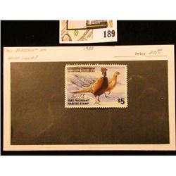 1983 Minnesota Department of Natural Resources $5 Pheasant Habitat Stamp. Artist signed.
