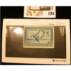1934 RW1 $1 Federal Migratory Bird Hunting Stamp, not signed, no gum.