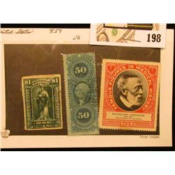 1952 Chicago Heart Association Stamp featuring Rudolph Virchow & early 50c & $1 U.S. Internal Revenu