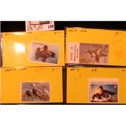 1982, 83, 84, & 85 Minnesota Department of Natural Resources $3 Migratory Waterfowl Stamps, all unsi