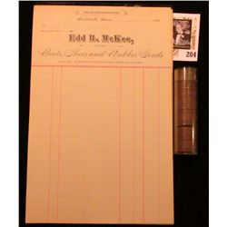 """Partially used Stationary Pad """"The Palace Shoe Store. Indianola, Iowa,……188   In account with Edd R."""