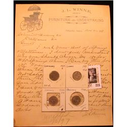 """1897 """"J.L. Winne Dealer in Furniture and Undertaking Atlantic, Iowa"""" letter on letterhead; 1928D, 19"""
