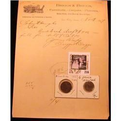 "1897 Sac City, Iowa ""Briggs & Briggs Furniture, Carpets, Pictures, Window Shades, Artist Materials,"