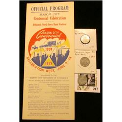 Mason City, Iowa Centennial letter dated 1952 with label; & 1853-1953 Official Program Mason City, I