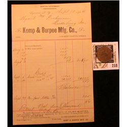 """""""J.S. Kemp Mfg. Co./Pay Check"""" with Chinese Countermarks, """"74"""", Brass, rd., 29mm with a 1904 Invoice"""