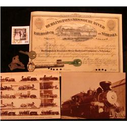 """May 14, 1872 """"State of Nebraska Burlington and Missouri River Railroad Co. in Nebraska"""" Stock Certif"""