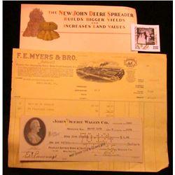 "1917 invoice ""F.E. Myers & Bro. Ashland, O. Pumps-Hay Unloading Tools-Barn Door Hangers, Etc.""; larg"