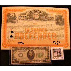 "Hole canceled 1907 Stock Certificate for 10 Shares ""Missouri Kansas and Texas Railway Company""; & $2"
