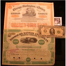 """Series 1928A Chicago, Illinois $100 Federal Reserve Note, plate numbers G4/20, VF-EF; 1885 """"Missouri"""