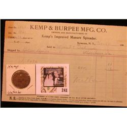 """J.S. Kemp Mfg. Co./Pay Check"" with  ""158"", uniface, brass, rd., 29mm with a 1904 Invoice from ""Kemp"