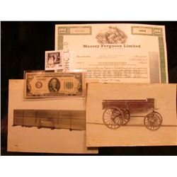 "Stock Certificate for 100 Shares ""Massey-Ferguson Limited"" central vignette of female with plow and"