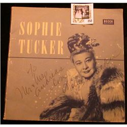 "Sophie Tucker personally autographed ""Decca Records"" Cover, which 'Doc' valued at $250.00."