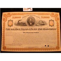 "1877 $5000 Mortgage Bond Payable 1st July 1917 United States of America States of Illinois & Iowa ""T"