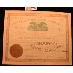 1894 Stock Certificate for Two Shares  College Park Land Company of Des Moines, State of Iowa , with