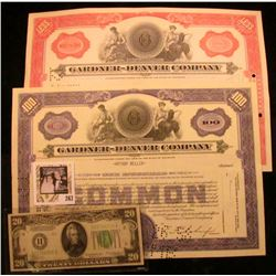 """Less Than 100 Shares"" & ""100 Shares"" Stock Certificates ""Gardner-Denver Company"" 1960 & 1951; & Ser"