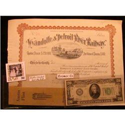 "Ribbon ""Austin Flint Waverly, Iowa November 13 1917"", Bremer Co.; ""Wyandotte & Detroit River Railway"