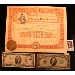 "1903 Stock Certificate for Two Hundred Shares ""Empire Mica Company"" with a Gold Notary Seal from Sou"