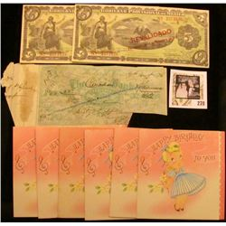August 31st, 1874 Woodstock, Ont.  The Canadian Bank  cut-cancelled Check; (6) 1950 era  Happy Birth