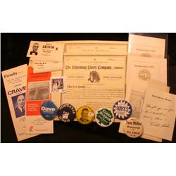 (6) different Political Pin-backs; group of campaign card  Charles F. Griffin Republican Candidate f