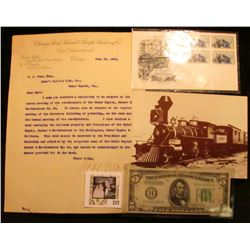Robert Mathis hand-signed Letter on Letter head from Chicago Rock Island & Pacific Tailway Co. Law D