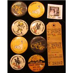 "Group of Iowa Hawkeye Pinbacks; ""Bushwacker Traer Centennial 1873-1973 July 17-22"" Pin-back; & a ""Ro"