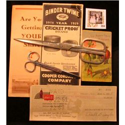 "Advertising Brochure ""Binder Twine 29th Year 1929 ""Cricket Proof"" Brand…Cooper Cordage Company…""; pa"