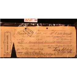 """August 15, 1927 Germany """"Prima-Wechsel"""" """"Berlin 3/027961"""" 30,000 Goldmark """"Rhatische Bank. Aroba."""","""
