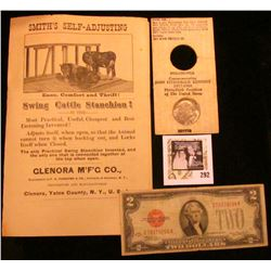 "Series 1928D Two Dollar U.S. Note ""Red Seal"", VG; 1890 era Advertising brochure ""Smith's Self-Adjust"