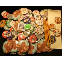 (100) Various Political & Local Pin-backs including Iowa and Iowa Hawkeyes; & (5) Advertising Pencil