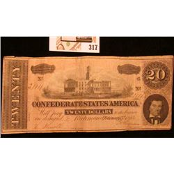 February 17th, 1864 $20 Confederate States of America Banknote, Serial number 21111. Nice.