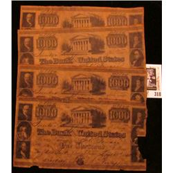 "Group of (5) $1,000.00 ""The Bank of the United States"" Replica notes on acid treated paper, all adve"