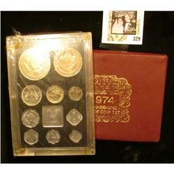 1974 The Republic of India Proof Coin Set. Eleven-piece. Original as issued. Includes Silver coinage