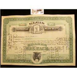 "1927 hole cancelled Stock Certificate for Sixteen Shares of ""Elgin National Watch Co."""
