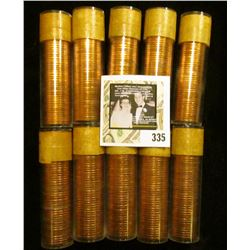 (10) 1957 Original Gem BU Solid-date Rolls of Canada Maple Leaf Cents. Each roll contains 50 pcs, al