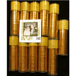 (11) 1958 Original Gem BU Solid-date Rolls of Canada Maple Leaf Cents. Each roll contains 50 pcs, al