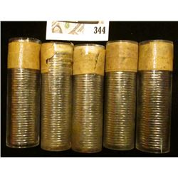 "(3) 1959 & (2) 1960 Original Gem BU Solid-date Rolls of Canada ""Beaver"" Nickels. Each roll contains"