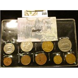Nine-Piece South African Type Set of Coins. One, Two, Five, Ten, & Twenty Cent, 1, 2, & 5 Rands.