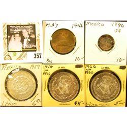 1890 Silver Five Centavos, Circ.; 1946 Twenty Centavos BU; 1957 BU, 1964 BU, & 1966 BU Mexico Silver